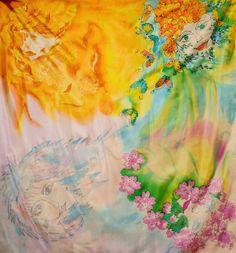 """Seidebmalerei.Unikat.""""Jahreszeiten"""".Ponge-seide. 90x90cm von silkcocoontextilart auf Etsy"""