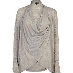 Grey wrap lightweight cardigan - cardigans - knitwear - women river island