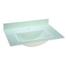 """Hembry Creek HCK-TGTS-371WT 37"""" Glass Vanity Top with Square Integral Bowl and…"""