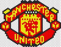 Manchester United Bead Pattern Kandi Patterns, Beading Patterns Free, Perler Patterns, Peyote Patterns, Cross Stitch Patterns, Knitting Paterns, Knitting Charts, Perler Beads, Beaded Banners
