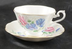 Royal Albert Fine Bone China Cup and Saucer SWEET PEA by RarebirdAntiques on Etsy