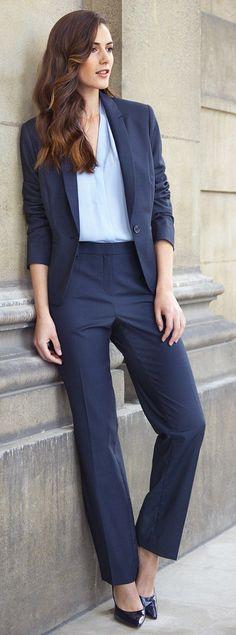 T.M Lewin (Barcelona suit jacket, £150, trousers, £85, Pamplona pleat neck top, £45)