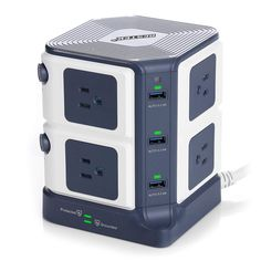 Sb power strip surge protector 1500 joules with 6 usb charging station,etl listed,dorm room accessories Gifts For Tech Lovers, Dorm Room Accessories, Computer Accessories, Desktop Design, Power Bars, Usb Charging Station, Amazon Sale, Extension Cord, Amazon Gifts