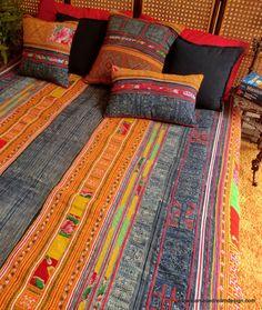 Vintage Hmong Indigo Batik Embroidery by SiameseDreamDesign
