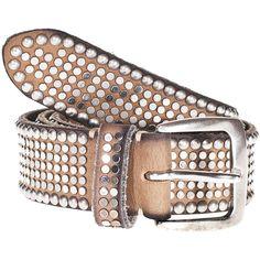 B.Belt Vintage Brown Wide studded belt ($260) ❤ liked on Polyvore