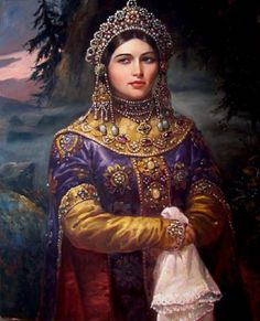 Хозяйка Медной Горы (Bazhov Tales) by Andrey Shishkin Russian) Russian Beauty, Russian Fashion, Russian Style, Traditional Fashion, Traditional Outfits, Folk Costume, Costumes, Russian Folk Art, Russian Painting