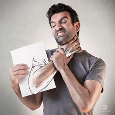 Artist Sébastien Del Grosso Manhandled by His Own Sketches (20 illustrations)