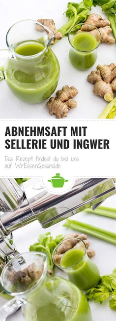 Slimming juice with celery and ginger - WirEssenGesund Superfood, Yummy Drinks, Yummy Food, Eco Slim, Cambridge University, Celery, Cantaloupe, Food And Drink, Low Carb
