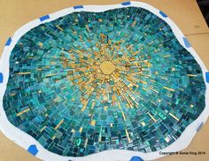 The first element is finished. There will be a total of three with golden energy bursting outward. Project by Sonia King. Mosaic Art Projects, Mosaic Crafts, Mosaic Wall, Mosaic Tiles, Mosaic Mirrors, Tiling, Mosaic Designs, Mosaic Patterns, Fused Glass Art