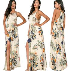 Sexy Women Summer Boho Long Maxi Evening Party Dress Beach Dresses Chiffon Dress | eBay