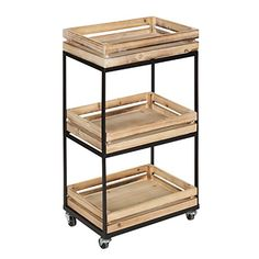 Kate and Laurel Usman 3 Tiered Storage Cart, Rolling Storage with Wheels, Natural Wood Crate Shelves and Black Metal Frame Wood Crate Shelves, Wooden Crates, Wine Crates, Storage Cart, Crate Storage, Record Storage, Tv Storage, Bedroom Storage, Storage Drawers