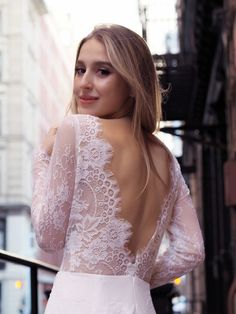 The Selena french lace bridal gown. Long sheer sleeves and an open back! Lace Bridesmaids, Bridesmaid Dresses, Wedding Dress Styles, Stunning Dresses, Simple Outfits, Playing Dress Up, Bridal Collection, Bridal Gowns, Selena