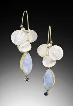 C.H. Mackellar   Summer blossom earrings - blue moonstone and chalcedony druzy in 18kt gold