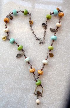 ceramic bead necklace vintage style--How To