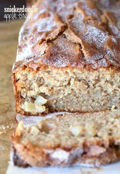 super soft, chunky apple bread with a crunchy cinnamon sugar crust on top!super soft, chunky apple bread with a crunchy cinnamon sugar crust on top! Apple Recipes, Bread Recipes, Sweet Recipes, Cooking Recipes, Just Desserts, Dessert Recipes, Drink Recipes, Dinner Recipes, Apple Bread