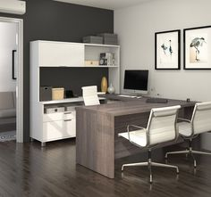 Redo your home office or sturdy area with the Bestar Pro-Linea U-Shaped Desk . This set includes both a U-shaped desk and matching hutch, each built.