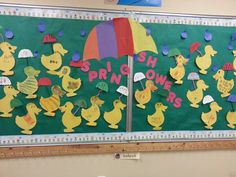April kindergarten bulletin board February Bulletin Boards, Welcome Bulletin Boards, Kindergarten Bulletin Boards, Spring Bulletin Boards, Crafts For Kids To Make, Craft Activities For Kids, Projects For Kids, Kid Crafts, Craft Ideas