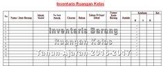 Contoh Format Tabel untuk Pendataan Inventaris Barang Ruangan Kelas Tahun 2016 dengan Microsoft Word