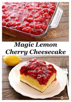 Magic Lemon Cherry Cheesecake SouthernPlate Pinterest #easy #recipes #dessert #cherry #cheesecake