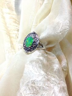 Fiery Green Opal Ring in Oxidized Sterling by NorthCoastCottage