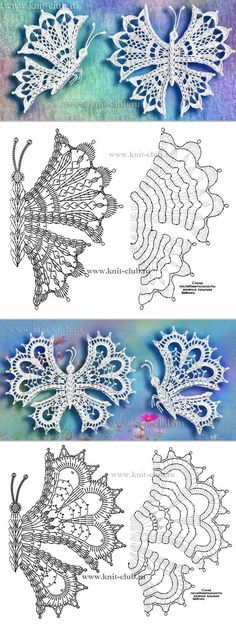 Graph directions only - Salvabrani Crochet Butterfly Pattern, Crochet Motif Patterns, Crochet Diagram, Freeform Crochet, Crochet Chart, Thread Crochet, Crochet Stitches, Russian Crochet, Irish Crochet