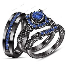 Round Blue Sapphire 925 Silver 14k Blak Gold FN Wedding Trio Ring Prong Set