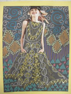 Love this kid's inspiration of Klimt. Inspired by Klimt: magazine figure surrounded by patterns