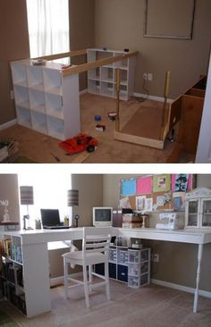How To Build Your Own Craft Desk - using cubed shelves and extra material