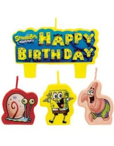 Spongebob Birthday Cake Candles Set Decoration Toppers ** More info could be found at the image url.