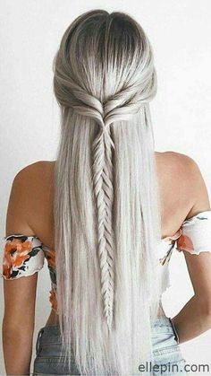 25 Easy Hairstyles for long hair – Hair Styles 2019 Haircuts For Long Hair, Braids For Long Hair, Straight Hairstyles Prom, Boho Hairstyles For Long Hair, Curly Hair, Straight Hair With Braid, Straight Prom Hair, Long Hair Styles Straight, Short Haircuts