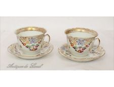 Paire de tasses à chocolat Porcelaine Paris Louis-Philippe XIXe
