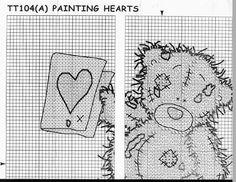 Tatty bear - painting hearts 3