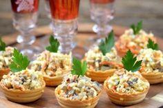Вкуснейшая закуска к любому столу: салат с грибами и корейской морковью в тарталетках - СУПЕР ШЕФ