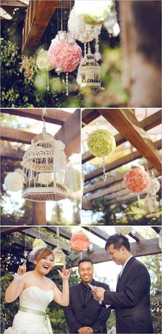 wedding alter ideas- Bird cages, pompoms and candles
