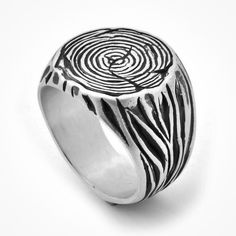 Man Signet ring , tree trunk ring , Sterling silver ring , by nature ring