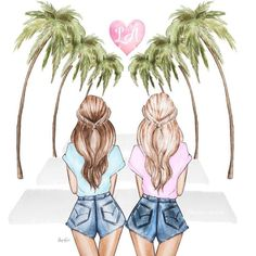 Hipster Drawings, Girly Drawings, Art Drawings Sketches, Best Friend Pictures, Bff Pictures, Bff Images, Friends Sketch, Best Friend Wallpaper, Look Wallpaper