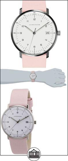 Junghans Uhren Max Bill 047/4253.00 - Reloj para mujeres, correa de cuero color rosa  ✿ Relojes para mujer - (Lujo) ✿