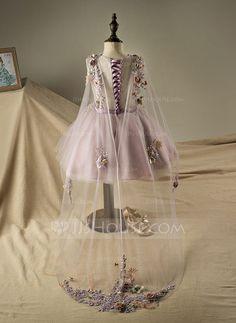 A-Line/Princess V-neck Knee-length Beading Flower(s) Sequins Polyester Cotton Sleeveless Flower Girl Dress Flower Girl Dress
