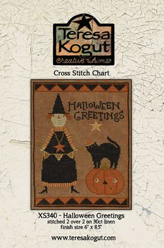 Halloween Greetings cross stitch patterns by Teresa Kogut at