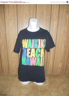 ON SALE 80's 90's black Waikiki Beach Hawaii by ATELIERVINTAGESHOP, $18.75