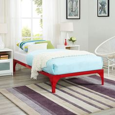 LexMod - Ollie Twin Bed Frame in Red