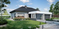 Projekt domu HomeKONCEPT-68 | HomeKONCEPT Modern Bungalow House Plans, Modern Bungalow Exterior, Modern Farmhouse Exterior, Village House Design, Village Houses, House Design Pictures, Modern House Design, Style At Home, Three Bedroom House Plan