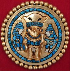Moche gold ear ornament, inlaid with turquoise.  Precolumbian earspool (Peru)