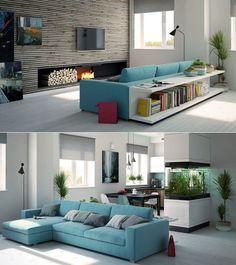 un meuble adossé au canapé
