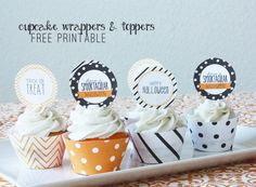 Cute cupcake wrappers & toppers - free printable for Halloween