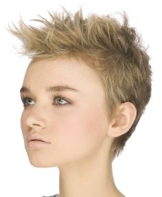 A short blonde straight spikey Womens haircut hairstyle by The Colour Room