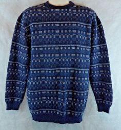 Men's Falls Creek Large Crewneck Pullover Long Sleeve Sweater Blue/White…