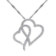 BELLA 925 Sterling Silver Love Heart to Heart Pendant Necklace Wedding Jewelry Love Gift For Girlfriend Wife Zircon Necklace