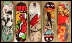 Finally, the first series of Jermaine Rogers signature skate decks are available. Featuring 5 different designs, these decks are domestic birch, sporting bright and colorful, iconic imagery. Each deck is the product of quality manufacturing and suitable for pro skating. Display the deck(s) as art, or hook them up with trucks and wheels and skate them hard.</p><p>Designs include:</p><p>            - We Carry Each Other (hugging bunnies)<br />            - LOVE (Devil Boxer)<br…
