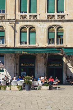 One of the numerous alfresco cafés on the Riva in Split, Croatia   heneedsfood.com